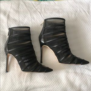Jimmy Choo leather and mesh booties